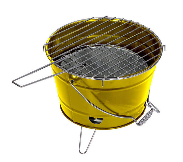 Barbecue Grill Grilleimer Partygrill Minigrill Campinggrill Picknickgrill SMILIE Gelb