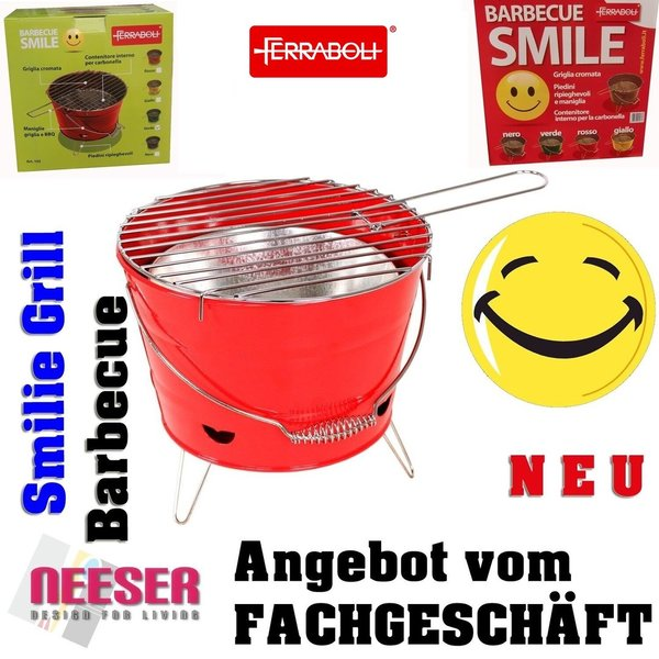 Barbecue Grill Grilleimer Partygrill Minigrill Campinggrill Picknickgrill SMILIE ROT