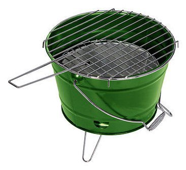 Barbecue Grill Grilleimer Partygrill Minigrill Campinggrill Picknickgrill SMILIE Grün
